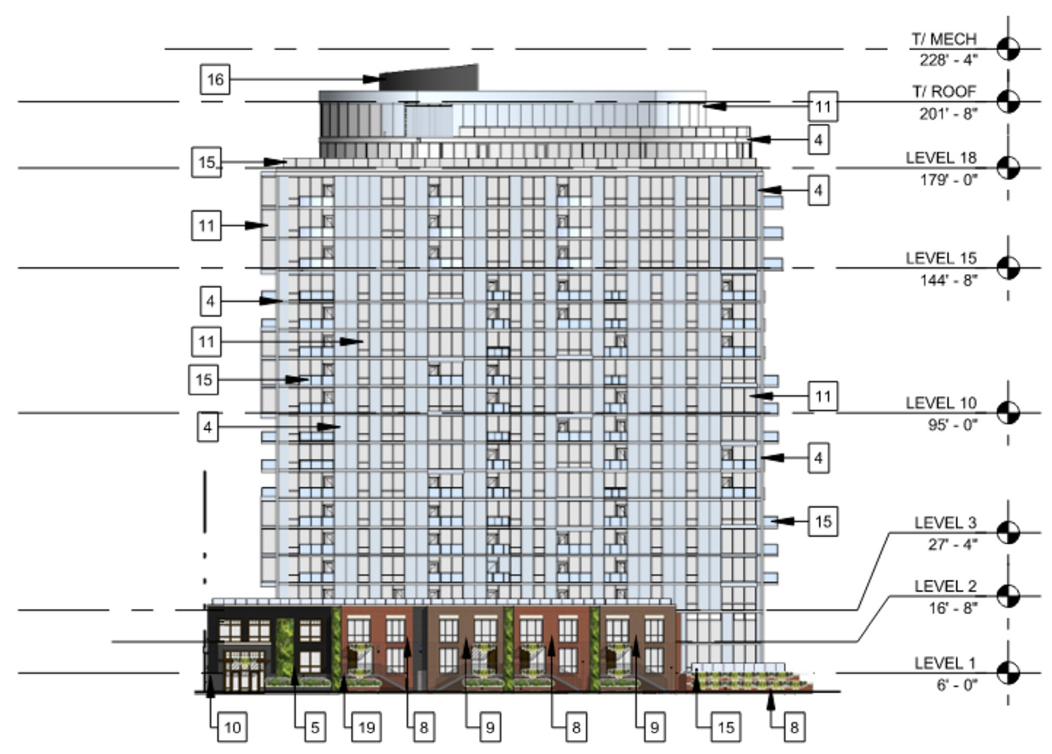 North Elevation for 3636 N Lake Shore Drive. Drawing by BKV Group