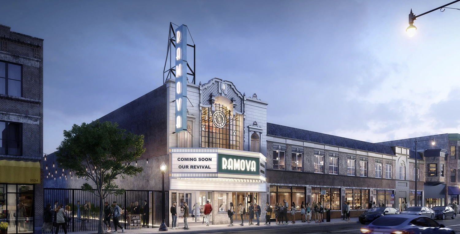 Ramova Theater at 3518 S Halsted Street. Rendering by O'Riley Office