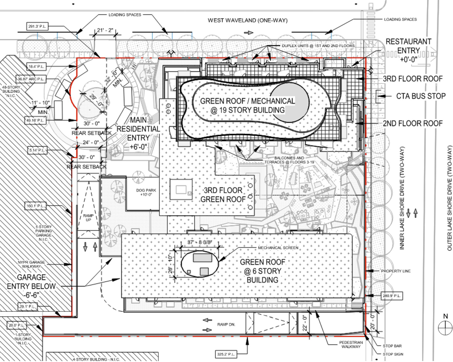 Site Plan for 3636 N Lake Shore Drive. Drawing by BKV Group