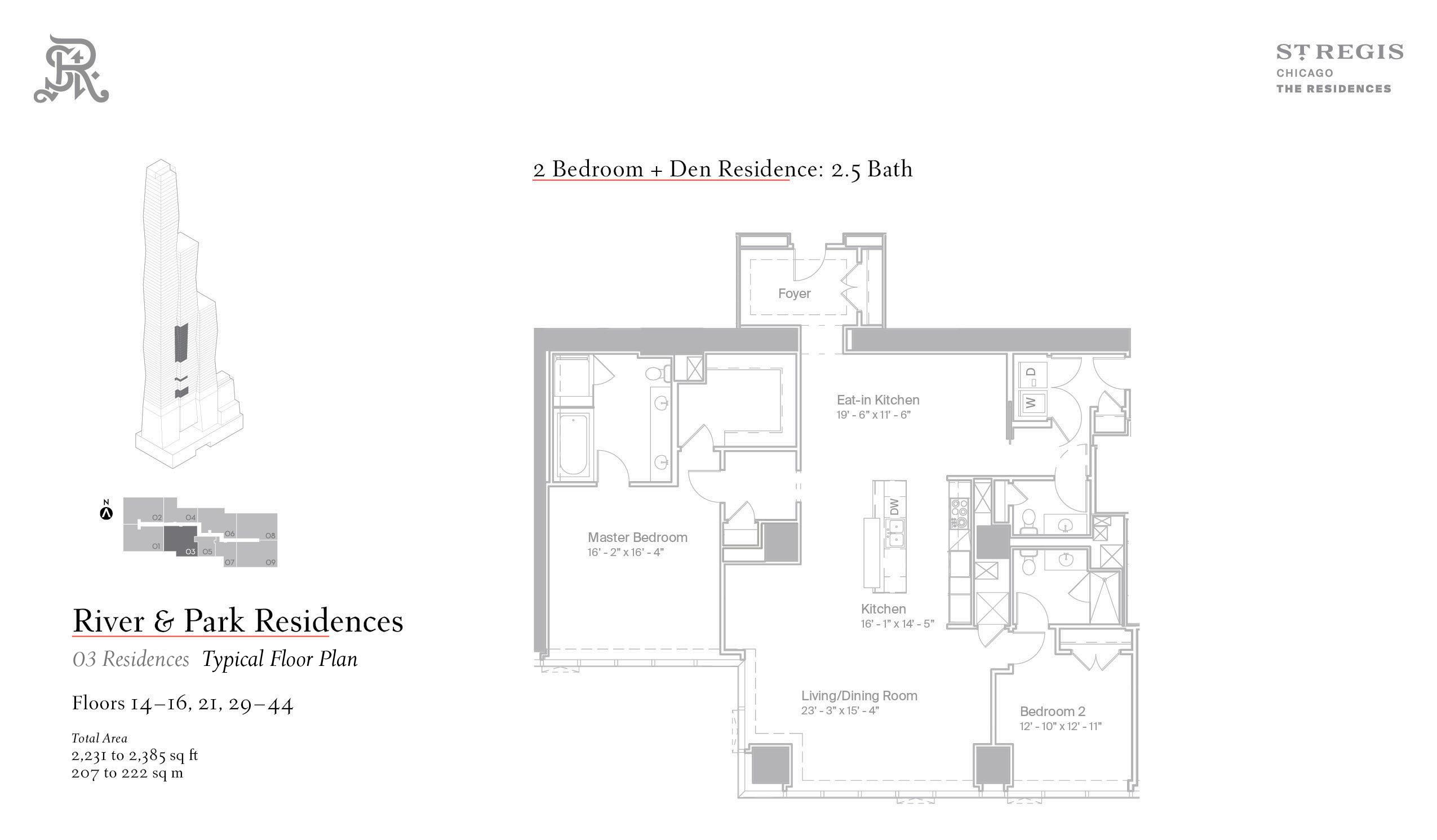 Sample two-bed floor plan
