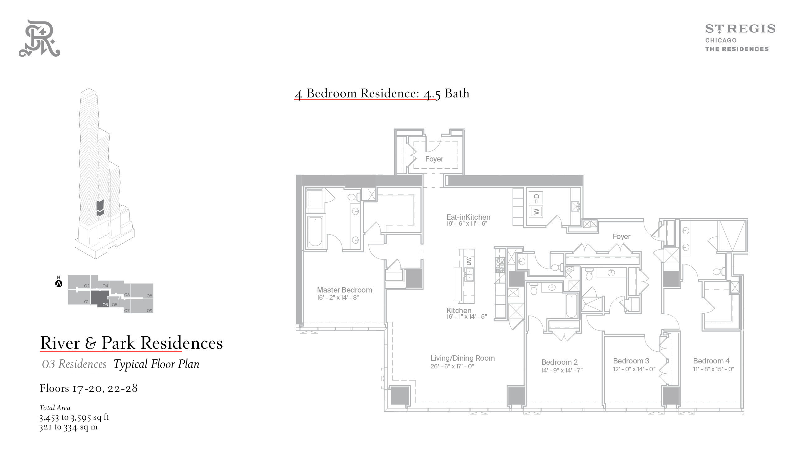 Sample four-bedroom floor plan