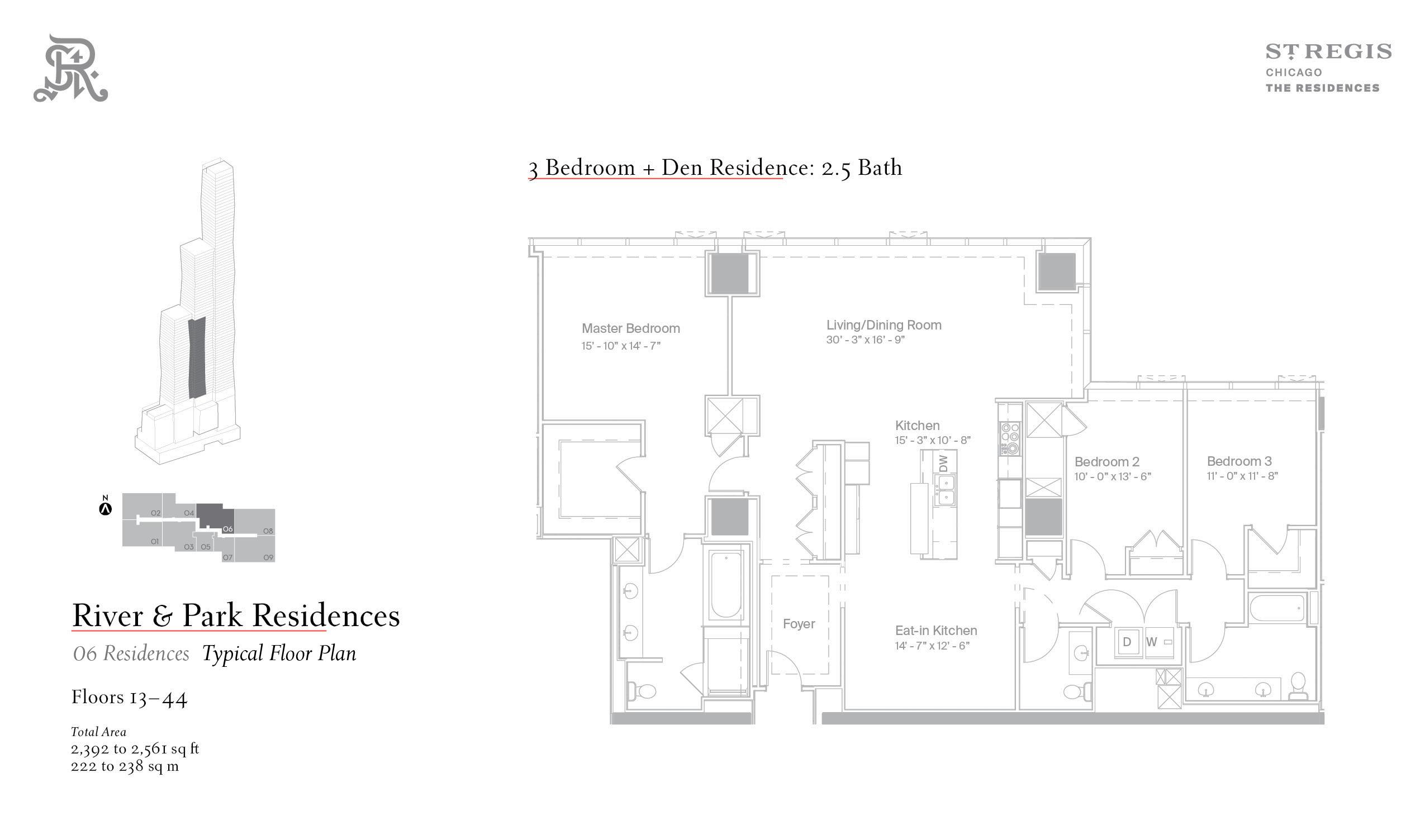 Sample three-bed floor plan