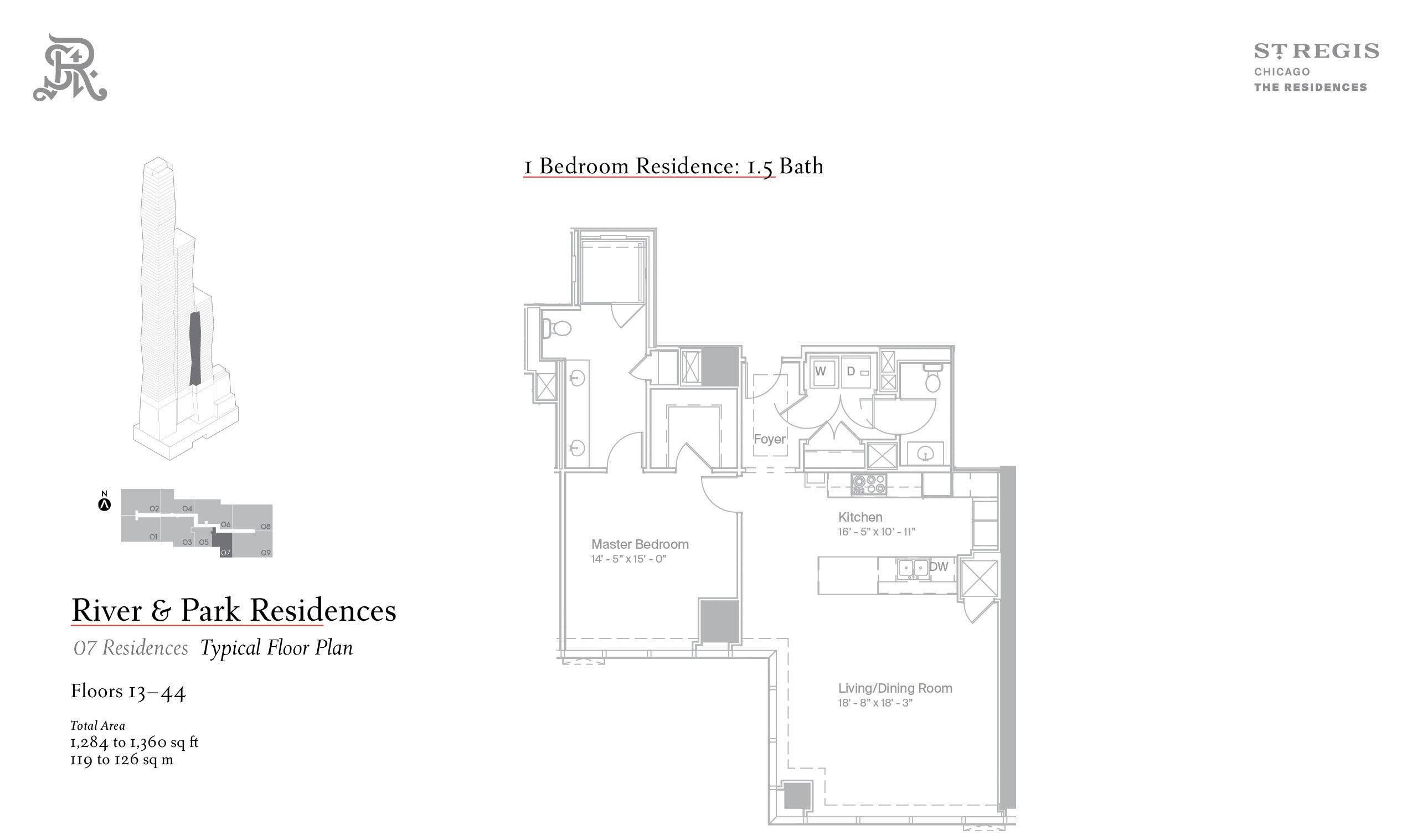 Sample one-bed floor plan