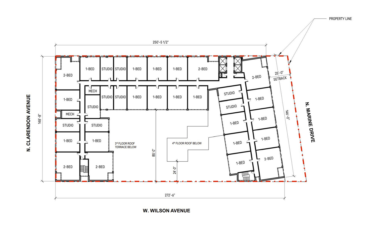 Typical Floor Plan for 4600 N Marine Drive. Drawing by VDTA