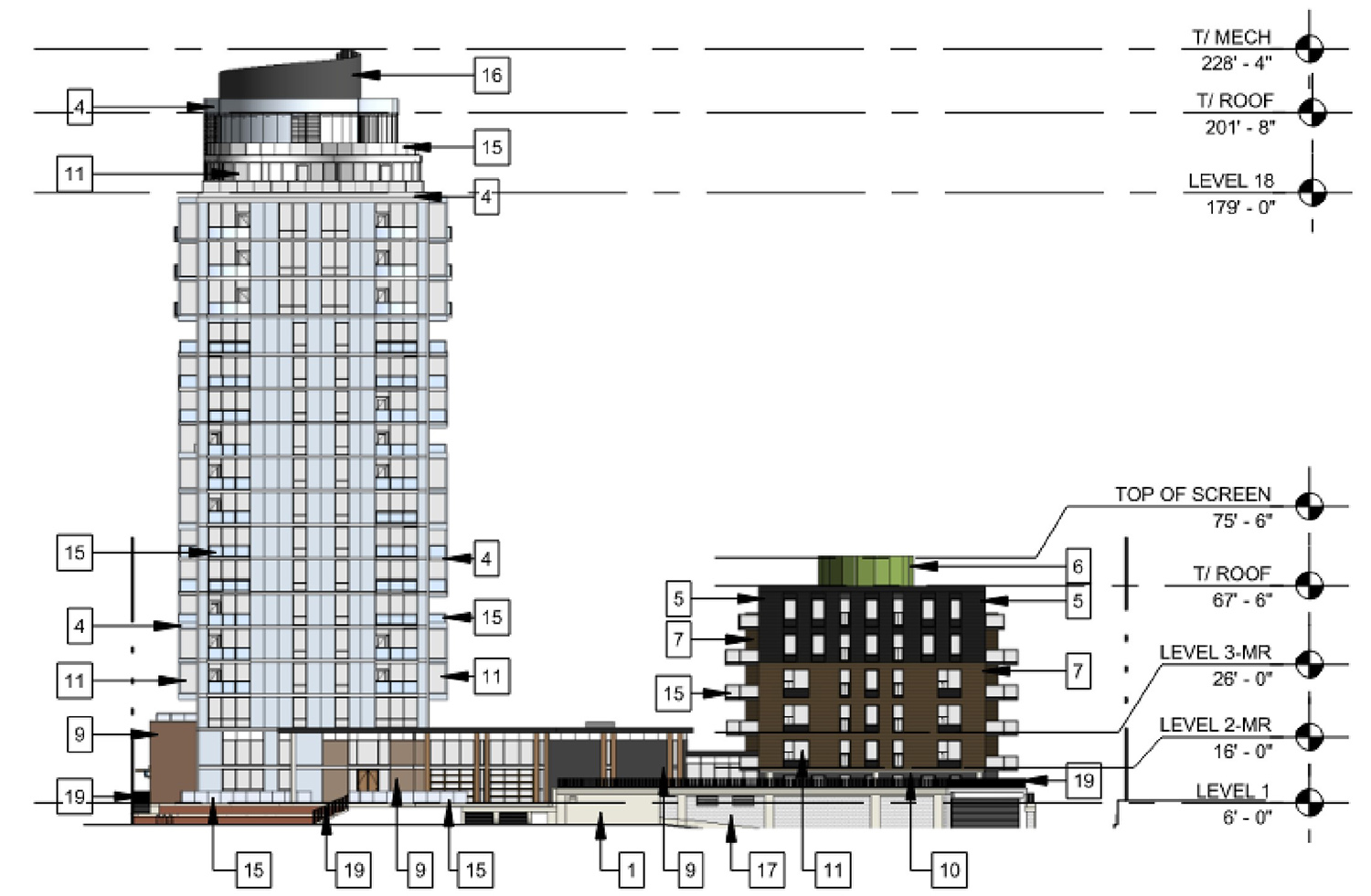 West Elevation for 3636 N Lake Shore Drive. Drawing by BKV Group