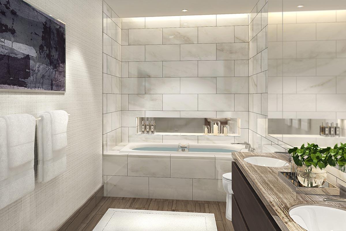 Three-bedroom bath interior