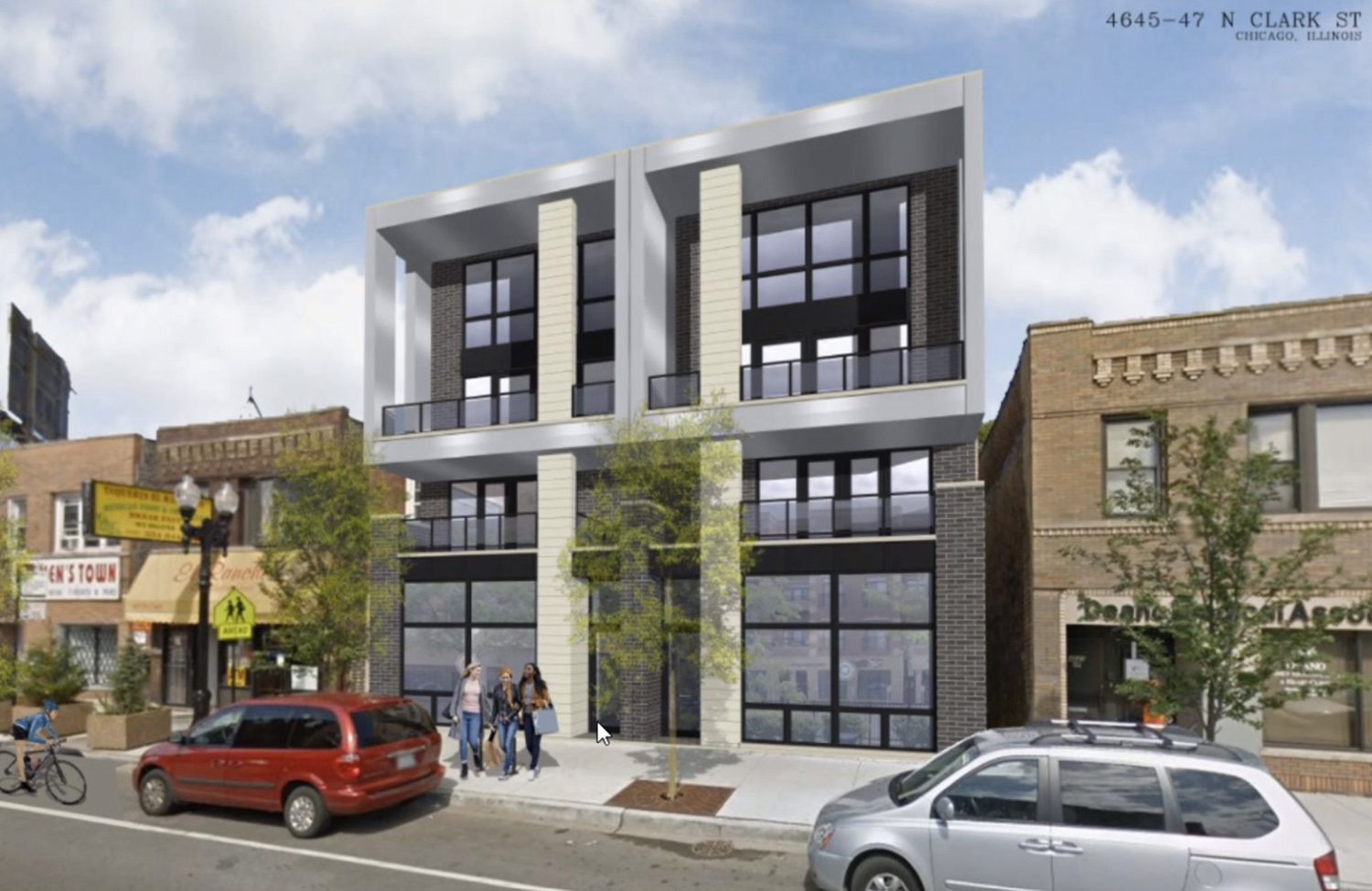 4645 N Clark Street. Rendering by Hanna Architects