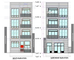 Elevations of 3244 N Lincoln Avenue. Drawing by Lazlo Simovic Architects